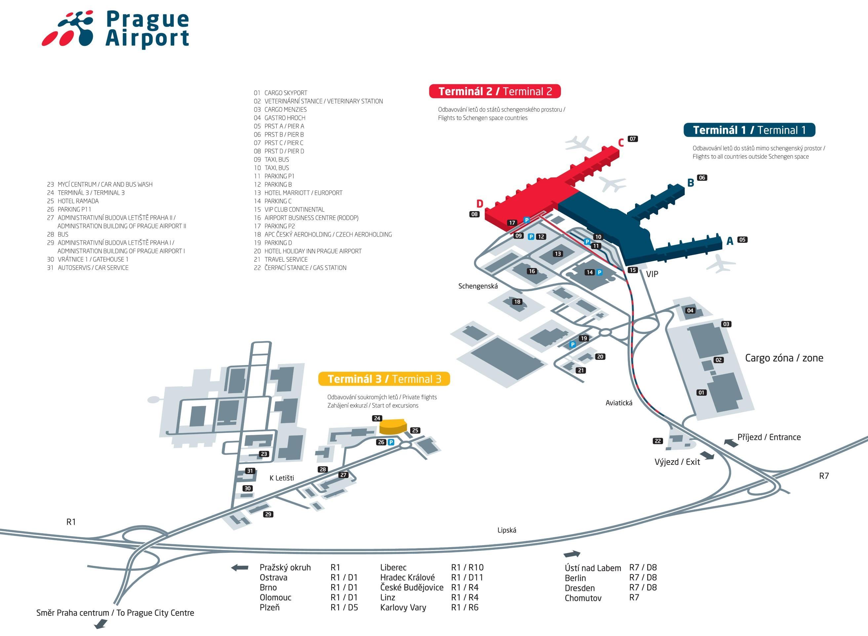 Prahan lentokenttä kartta