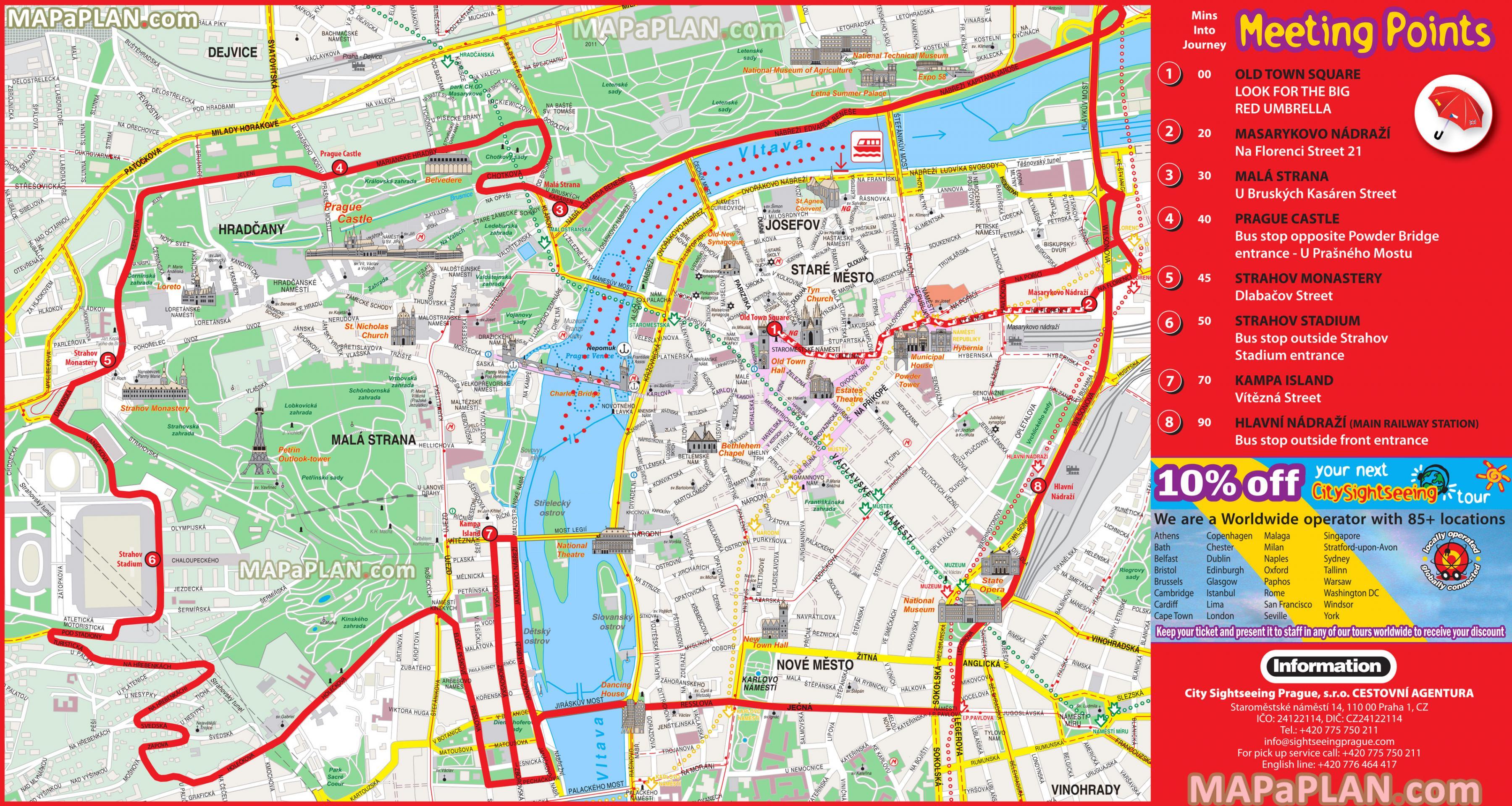 Prague hop on hop off bus route map - Prague hop on hop off bus map ...
