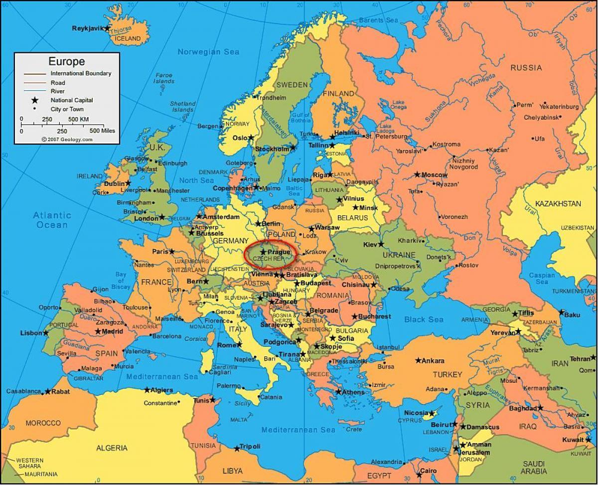 map of prague in europe Prague Map Europe Map Of Europe Showing Prague Bohemia Czechia map of prague in europe