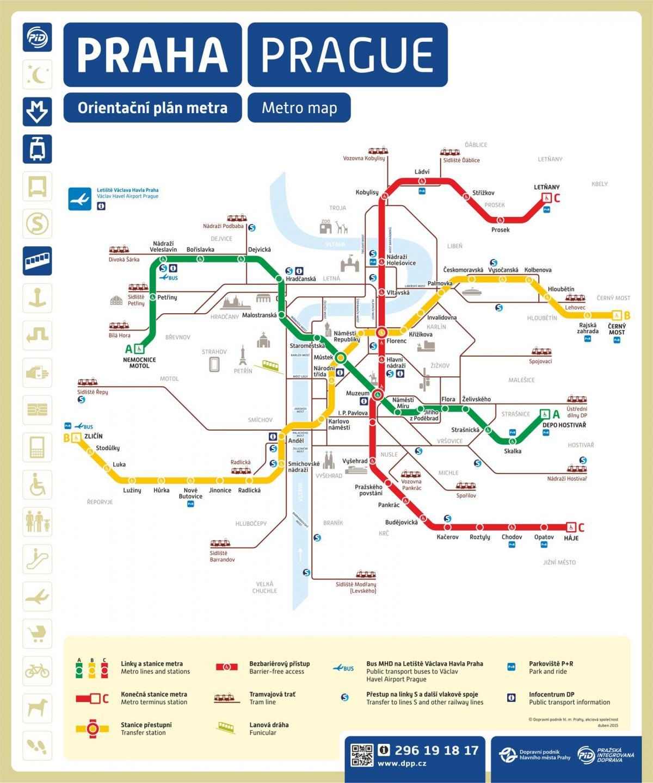 Metro Map 2016.Prague Metro Map 2016 Map Of Prague Metro Map 2016 Bohemia Czechia